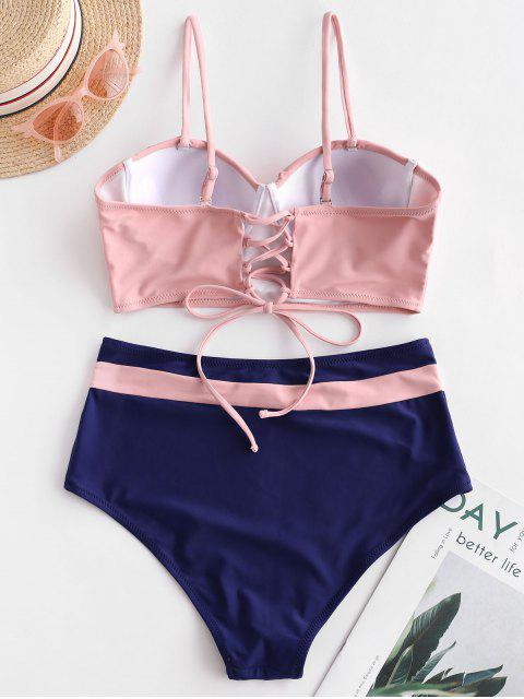 lady ZAFUL Push Up Ruffle Color Block Tankini Swimsuit - MULTI-A XL Mobile