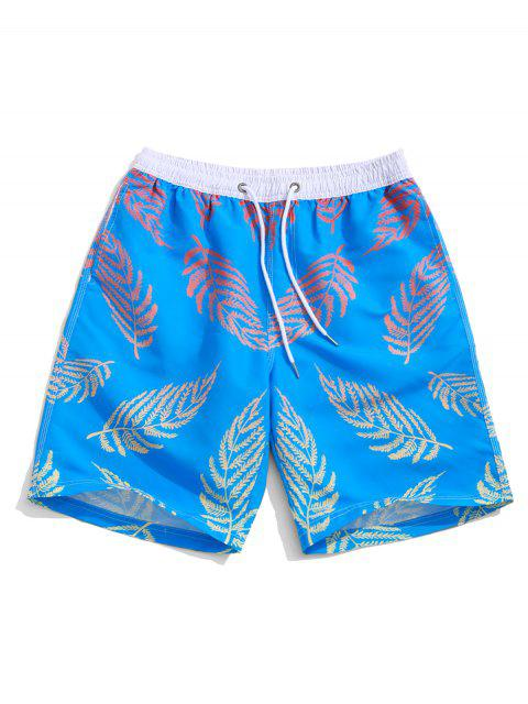 women Colored Plant Leaf Print Holiday Board Shorts - DODGER BLUE M Mobile