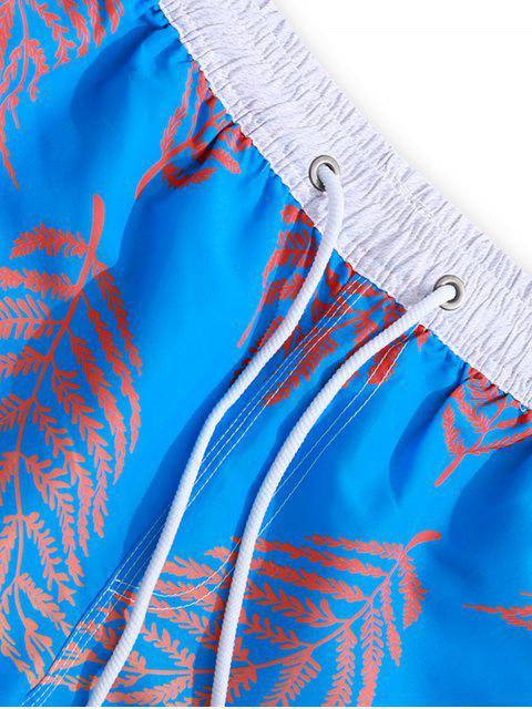Farbige Boardshorts mit Pflanzenblatt-Aufdruck - Knallblau L Mobile