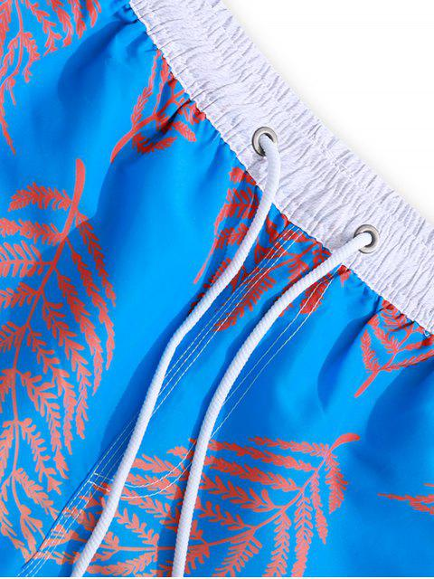 Shorts de Playa de Color Bloque con Estampado de Plantas de Color - Azul de Dodgers 2XL Mobile