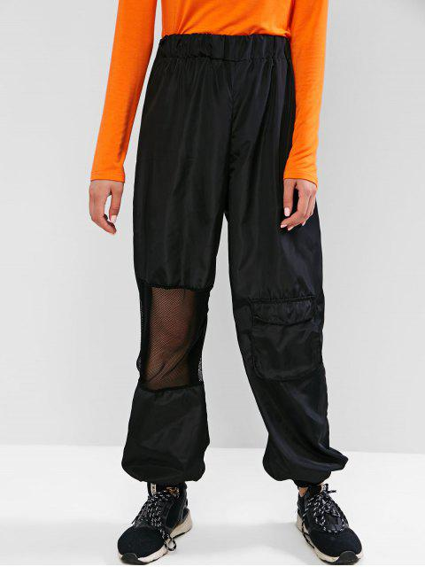 Pantalones Jogger de bolsillo de rejilla de bolsillo de talle alto - Negro  S Mobile