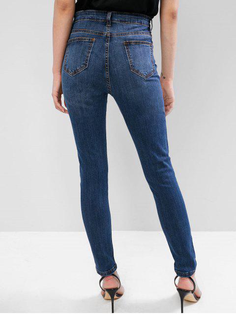 Jean skinny déchiré à poches foncées et délavé - Bleu Foncé Toile de Jean M Mobile