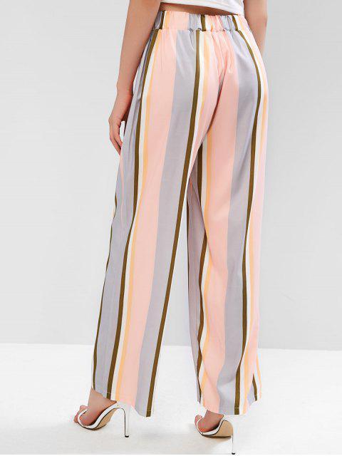 Pantalon Rayé Multicolore à Jambe Large - Multi-A L Mobile