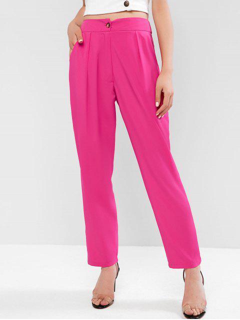 Pantalon Plissé en Avant à Taille Haute en Couleur Unie - Rouge Rose M Mobile