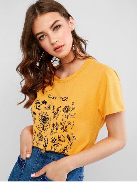 T-shirt à imprimé floral de base avec motifs floraux - Jaune L Mobile