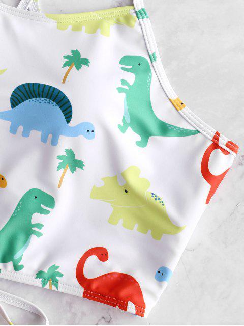 Traje de baño Tankini con control de la barriga y control de la barriga del dinosaurio ZAFUL - Amarillo Brillante XL Mobile