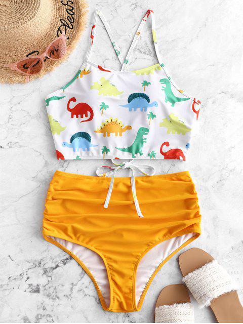 womens ZAFUL Dinosaur Lace Up Tummy Control Tankini Swimsuit - BRIGHT YELLOW S Mobile
