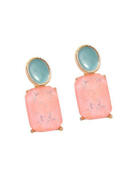 Boucles d'Oreilles Géométriques Ovales en Acrylique - Rose   Mobile