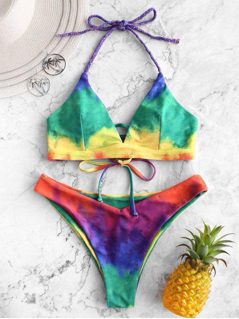 fashion ZAFUL Braided Halter Tie Dye Rainbow Bikini Swimsuit - MULTI-B S Mobile
