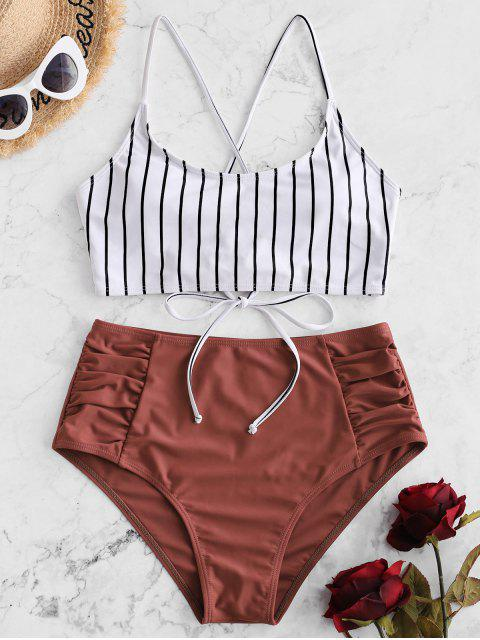 outfit ZAFUL Striped Lace-up Ruched Tankini Swimsuit - CHERRY RED M Mobile
