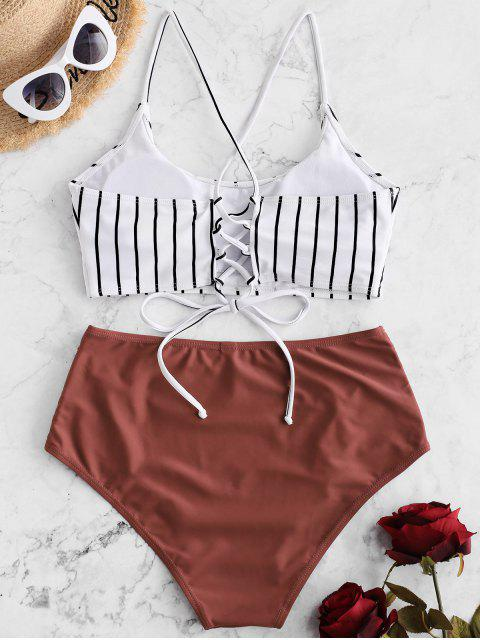 unique ZAFUL Striped Lace-up Ruched Tankini Swimsuit - CHERRY RED 2XL Mobile