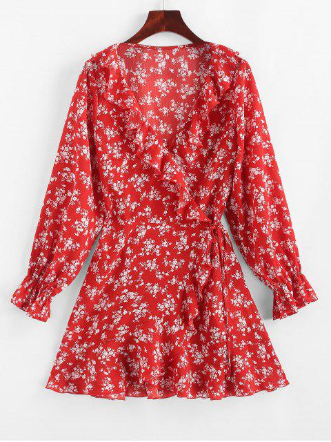 trendy ZAFUL Tiny Floral Ruffles Asymmetric Wrap Dress - LAVA RED S Mobile