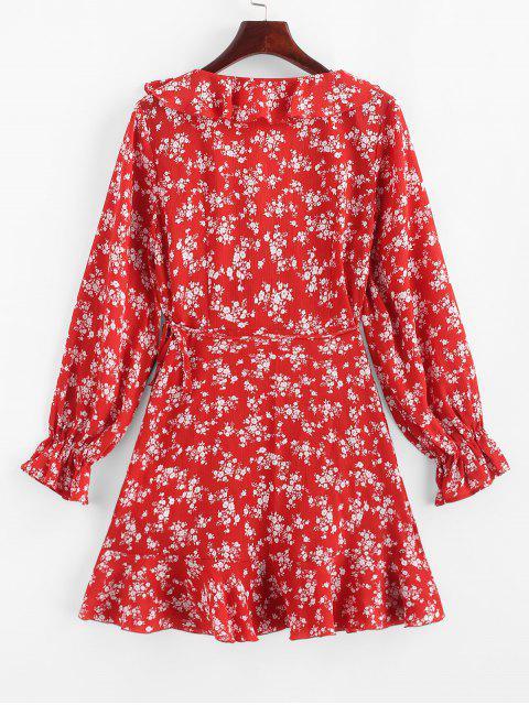 ZAFUL Robe Enveloppée Asymétrique Fleurie à Volants - Rouge Lave M Mobile