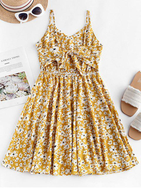 new Floral Print Knotted Back Flared Cami Dress - YELLOW M Mobile