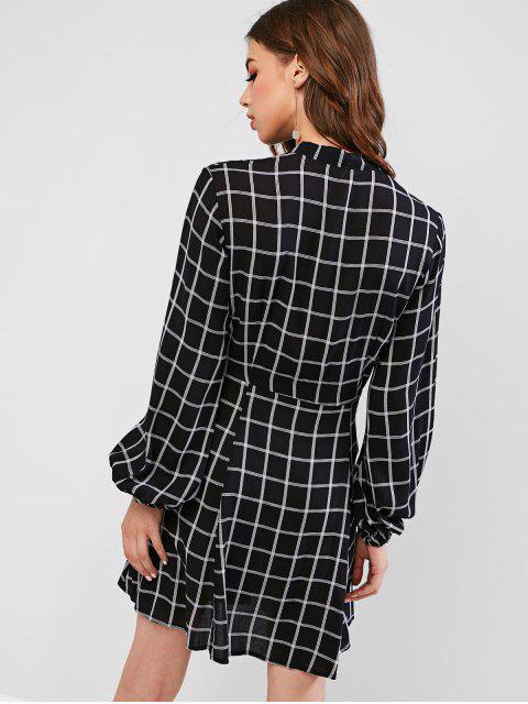 ZAFUL Robe Chemise à Carreaux Noué Boutonné - Noir L Mobile