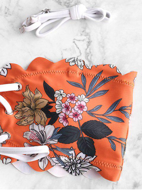 ZAFUL Maillot de Bain Bikini Fleuri Bandeau Festonné à Lacets - Orange Mangue L Mobile