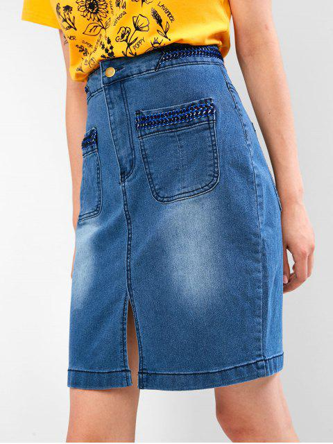 chic Braided Panel Slit Jean Skirt - DENIM BLUE S Mobile
