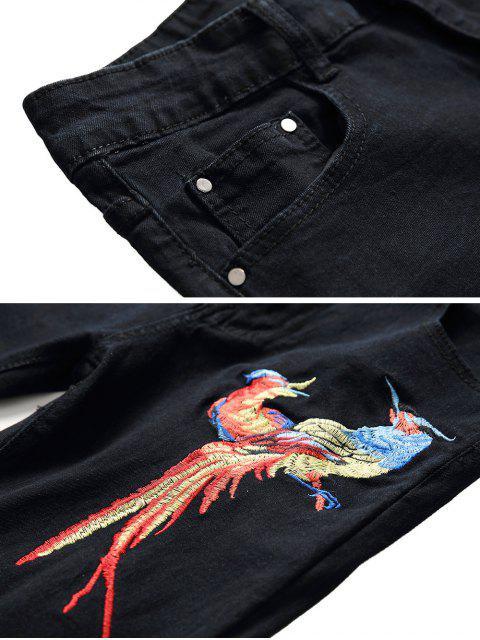 best Floral Bird Embroidery Destroy Wash Long Jeans - BLACK 32 Mobile