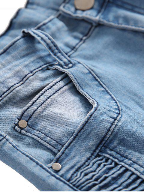 褶皺拼接撕裂長直騎自行車牛仔褲 - 牛仔褲藍色 38 Mobile