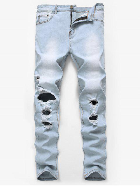 affordable Solid Color Ripped Hole Casual Long Jeans - DENIM BLUE 36 Mobile