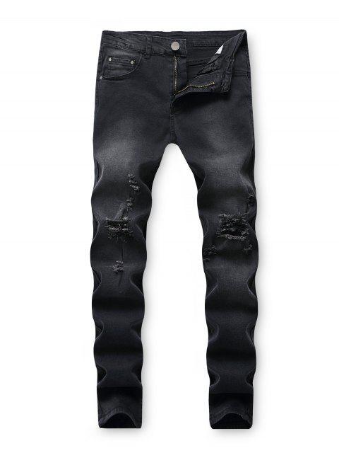 chic Destroy Wash Ripped Back Pocket Long Jeans - BLACK 36 Mobile