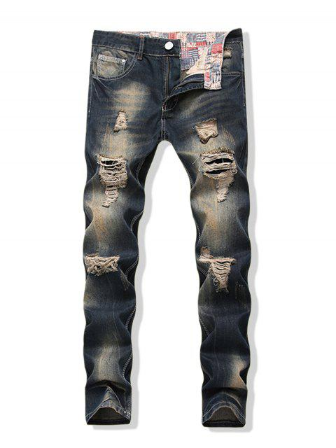 affordable Distressed Faded Wash Long Straight Ripped Denim Pants - DENIM DARK BLUE 32 Mobile