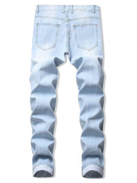 latest Long Straight Solid Color Ripped Casual Denim Pants - JEANS BLUE 34 Mobile