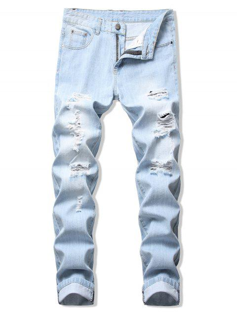 trendy Long Straight Solid Color Ripped Casual Denim Pants - JEANS BLUE 38 Mobile