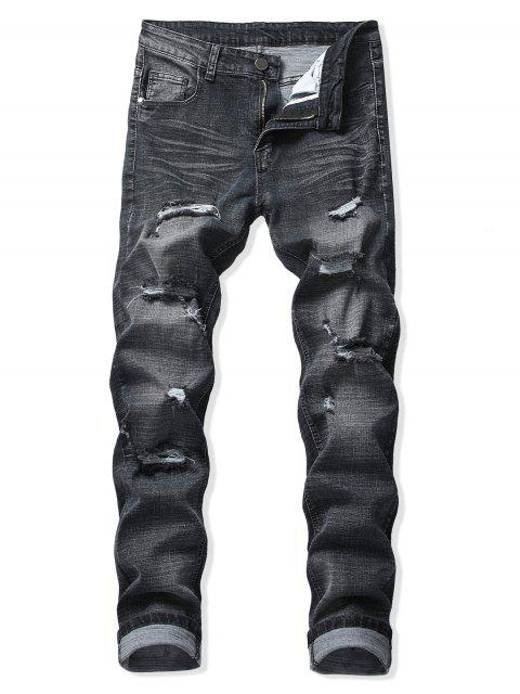 hot Destroy Wash Scratch Long Zipper Fly Jeans - BLACK 34 Mobile
