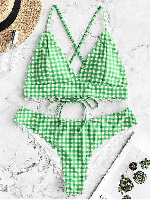 lady ZAFUL Scalloped Crisscross Gingham Bikini Swimsuit - GREEN APPLE M Mobile