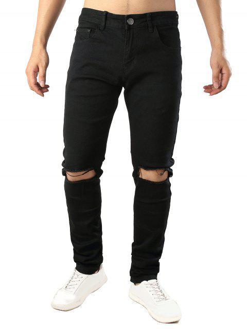 shops Solid Color Destroy Hole Long Casual Jeans - BLACK 38 Mobile