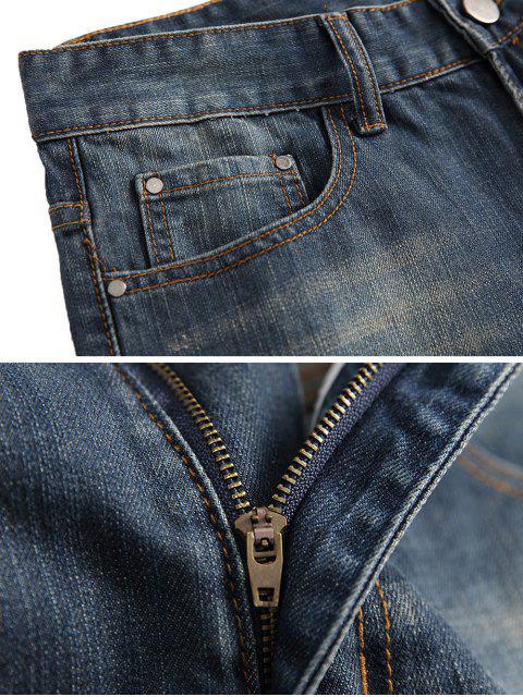 JeansDescolorido con Cremallera y Lavado Claro - Azul Oscuro de Denim 40 Mobile