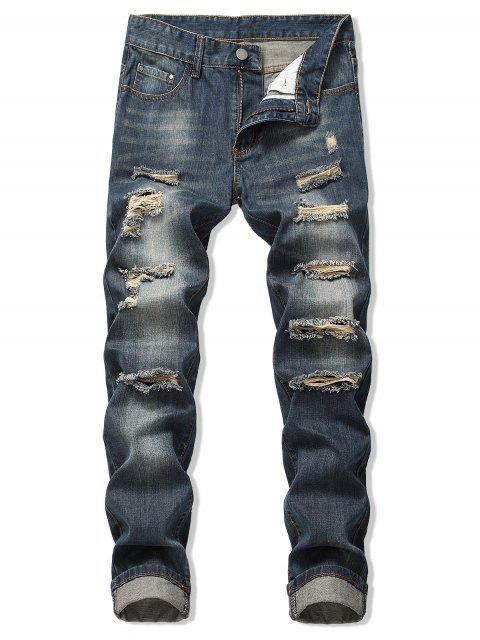 new Faded Wash Ripped Long Straight Jeans - DENIM DARK BLUE 36 Mobile
