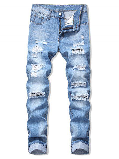 JeansDescolorido con Cremallera y Lavado Claro - Azul Denim 32 Mobile