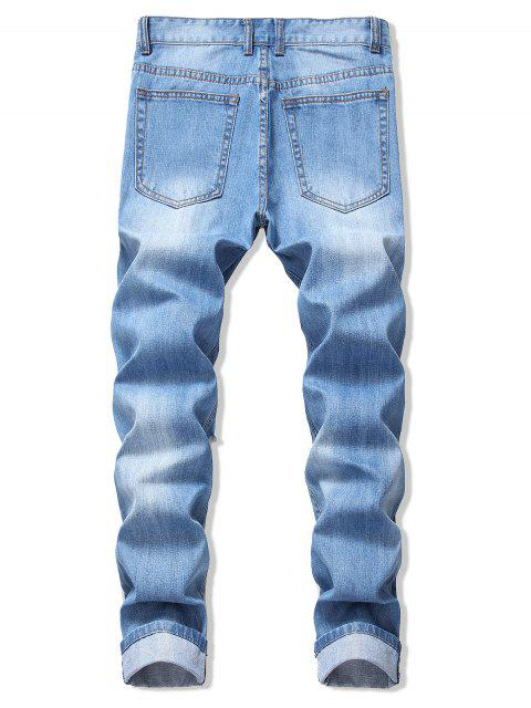 hot Faded Wash Ripped Long Straight Jeans - DENIM BLUE 34 Mobile