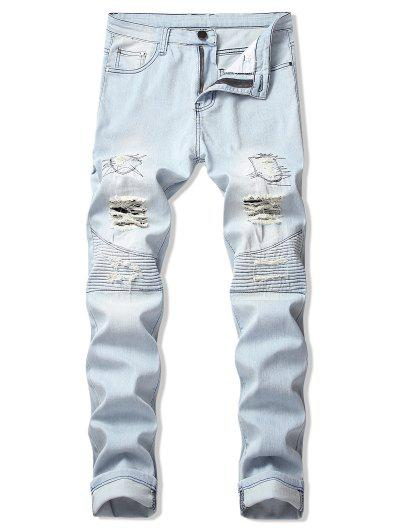 a9db683efff Destroy Wash Pleated Patchwork Long Straight Jeans - Jeans Blue 34 ...