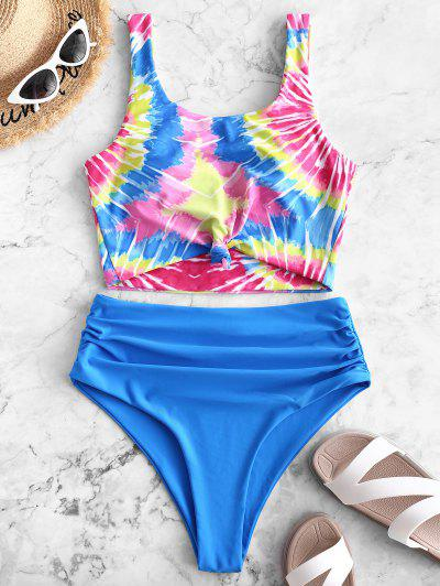 7a6f69afd11 ZAFUL Knot Ruched Rainbow Spiral Tie Dye Print Tankini Swimsuit - Dodger  Blue S ...