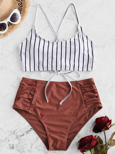 ZAFUL Striped Lace-up Ruched Tankini Swimsuit - Cherry Red Xl
