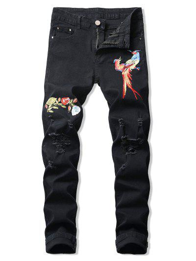Floral Bird Embroidery Destroy Wash Long Jeans - Black 34