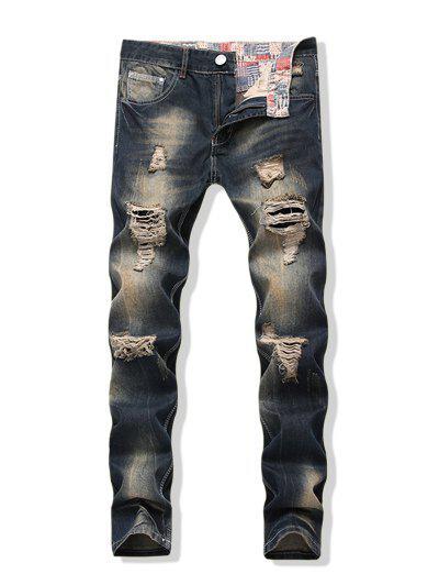 Angustiado Desbotado Lavagem Longa Reta Rasgado Calças Jeans - Azul Escuro De Denim  36