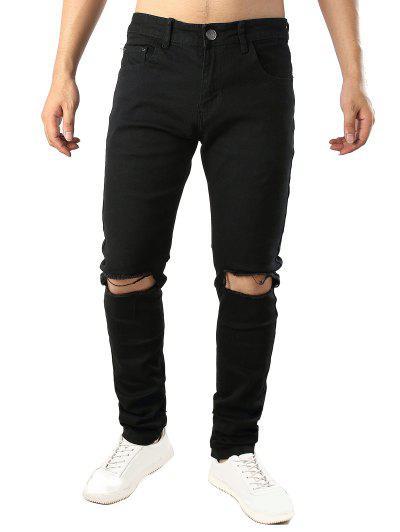 Jeans CasualesDesgastados Largo De Color Sólido - Negro 38