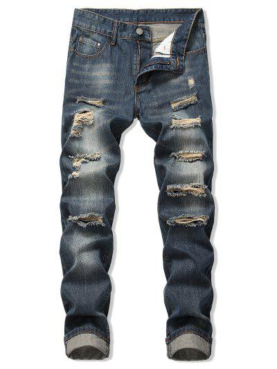 Faded Wash Ripped Long Straight Jeans - Denim Dark Blue 32