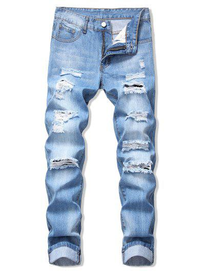 Faded Wash Ripped Long Straight Jeans - Denim Blue 34