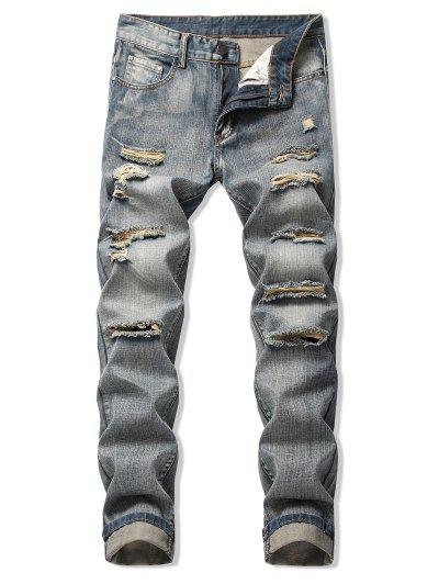 Faded Wash Ripped Long Straight Jeans - Puce 40