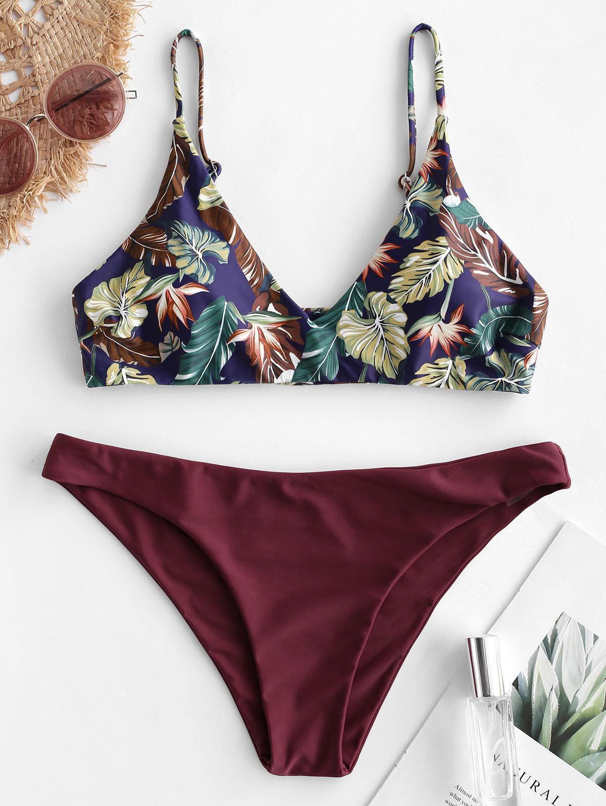 Zaful coupon: ZAFUL Tropical Leaf Bralette Bikini Swimsuit