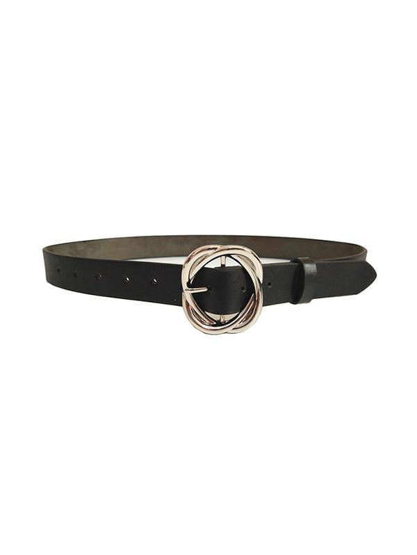 Twining Pattern Buckle Design Leather Thin Belt