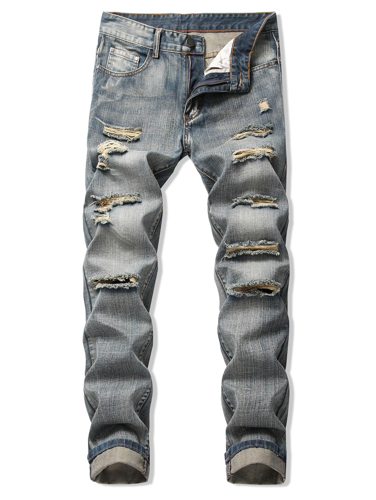 Faded Wash Ripped Long Straight Jeans фото