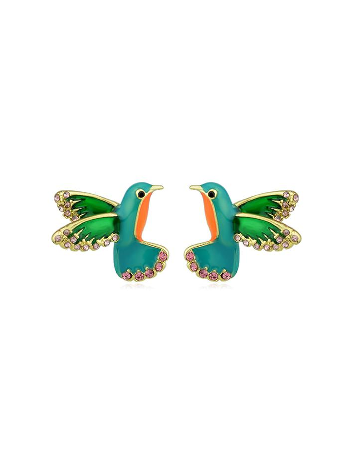 Colorful Faux Diamond Flying Bird Stud Earrings, Green