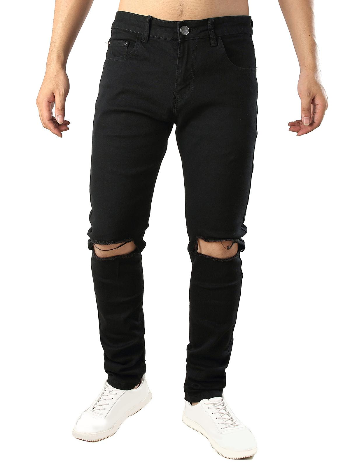 Solid Color Destroy Hole Long Casual Jeans фото