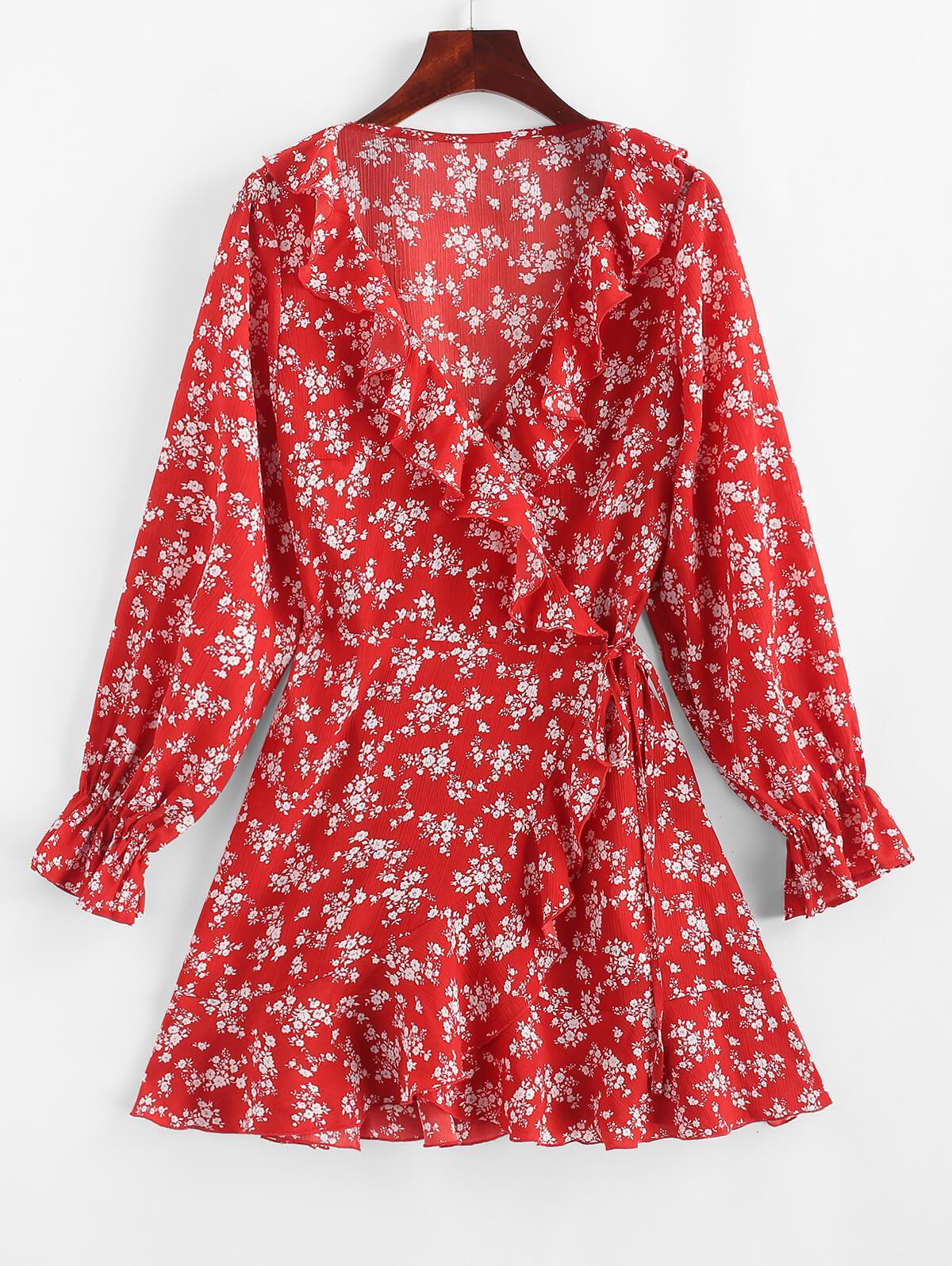 ZAFUL Piccolo Floreale a Balze Asimmetriche Wrap Dress